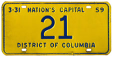 1958 Reserved plate no. 21 was assigned to Nathan Cayton, Chief Judge of the Municipal Court of Appeals