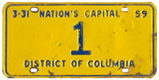 1958 Reserved plate no. 1 was assigned to Robert E. McLaughlin, President of the D.C. Board of Commissioners