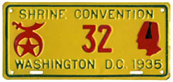 1935 Shrine Convention plate no. 32