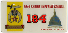 1967 Shrine Imperial Council plate no. 184: click to enlarge