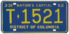 1961 (exp. 3-31-62) Trailer plate no. T-1521
