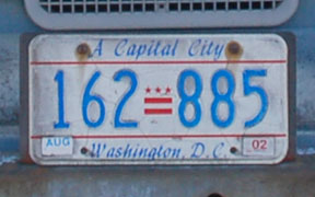 D.C. auto plate number 162-885