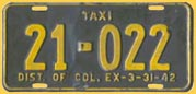 1941 (exp. 3-31-42) Taxi plate no. 21-022