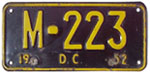 1952 (exp. 3-31-53) motorcycle plate no. M-223
