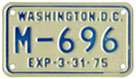 1974 (exp. 3-31-75) motorcycle plate no. M-696