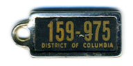 early D.C. DAV key tag no. 159-975, possibly the 1941 (exp. 3-31-42) issue