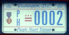 Current-style Purple Heart Recipient plate no. PH-0002