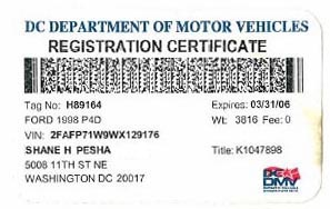 Expires March 2006 registration certificate