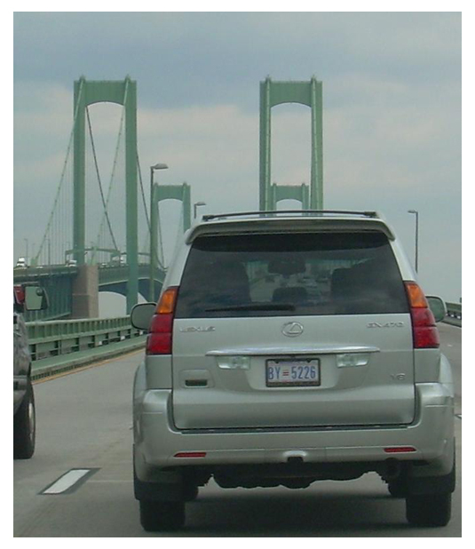 Lexus crossing the Delaware Memorial Bridge