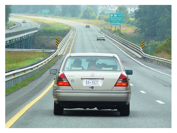 A Mercedes-Benz sedan traveling northbound on I-91 in southeastern Vermont.