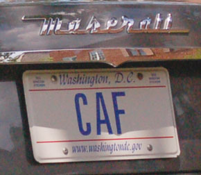 D.C. personalized plate CAF