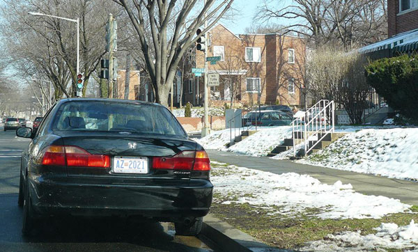 D.C. auto plate no. AZ-2021 on a Honda Accord parked on Arkansas Ave. NW.