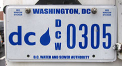 2011 base DC Water and Sewer Authority plate no. 305