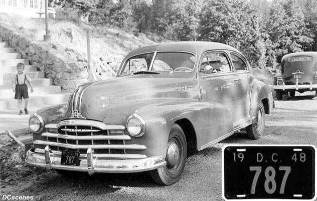 1948 D.C. plate no. 787 on a 1948 Pontiac Sport Coupe parked on 34th St. S.E. in May 1948.