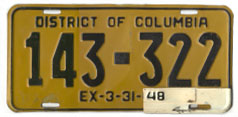 1946 Passenger plate no. 143-322 validated for 1947