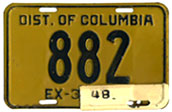 1946 Passenger plate no. 882 validated for 1947